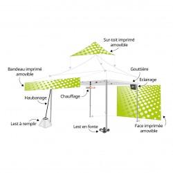 Accessoires et options de la tente pliante en location