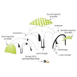 Accessoires et options de la tente gonflable